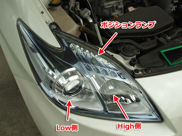ZVW30のヘッドライト、ポジションランプの位置