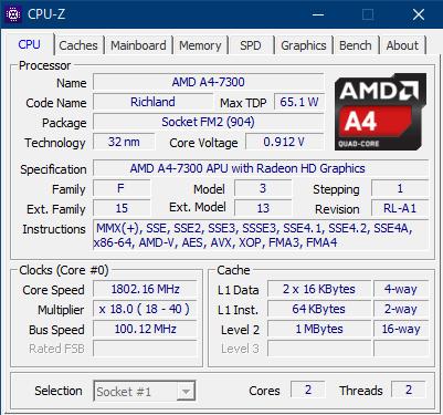 CPU-Zで見たAMD A4-7300の詳細情報