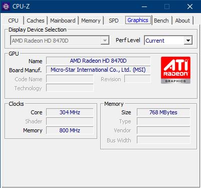 CPU-Zで見たAMD Radeon HD 8470Dの詳細情報