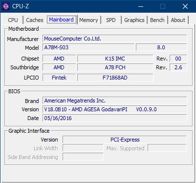 CPU-Zで見たMSI A78M-S03の詳細情報