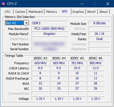 CPU-Zで見た搭載メモリの詳細情報。